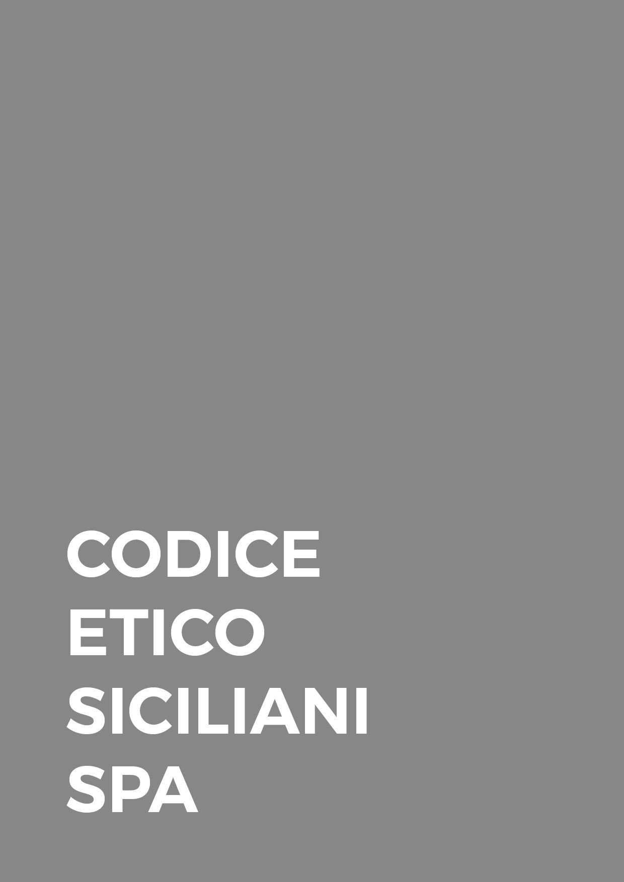 Codice Etico - SICILIANI SPA